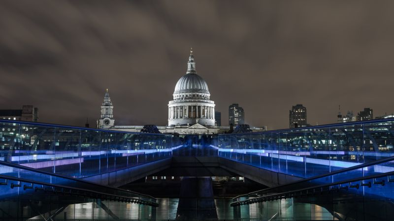 Millenium Bridge, London. England, tourism, travel, night (horizontal)