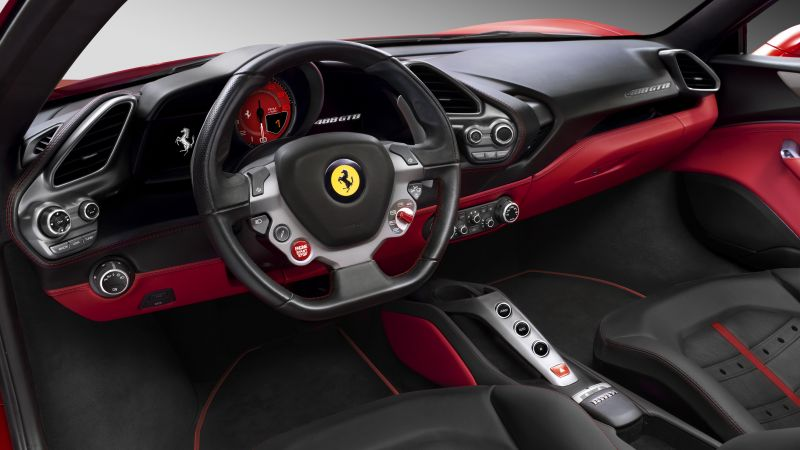 Ferrari 488 GTB, coupe, supercar, sport car, review, buy, rent, interior (horizontal)
