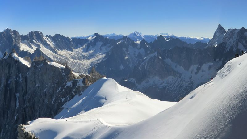 Aiguille du Midi, 4k, 5k wallpaper, French Alps, Europe, tourism, travel, snow, mountain (horizontal)