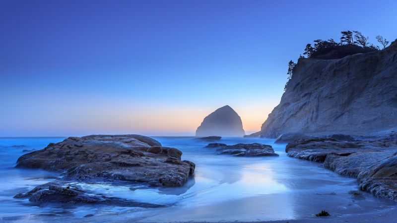 Oregon, 5k, 4k wallpaper, Pacific Ocean, USA, Best Beaches in the World, travel, tourism, sea, sunset, sunrise, beach (horizontal)