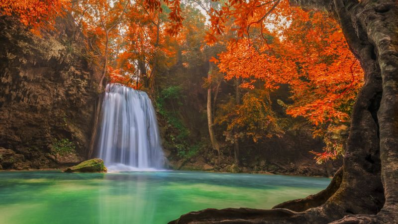 Waterfall, 5k, 4k wallpaper, Thailand, travel, tourism, River, autumn (horizontal)