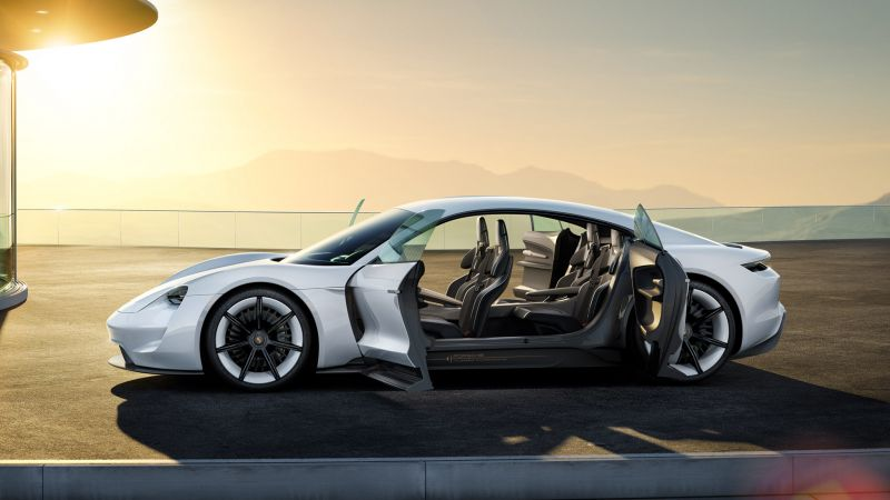 Porsche Taycan, Electric Cars, supercar, 800v, white (horizontal)