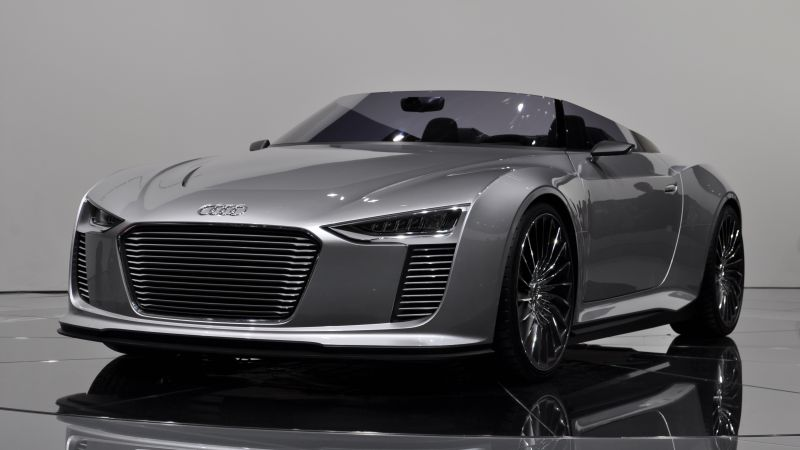 Audi e-tron Spyder, electric cars, silver, convertible (horizontal)