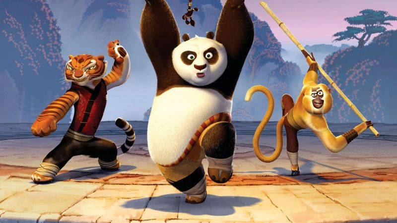 Kung Fu Panda 3, Po, Tigrees, Monkey (horizontal)