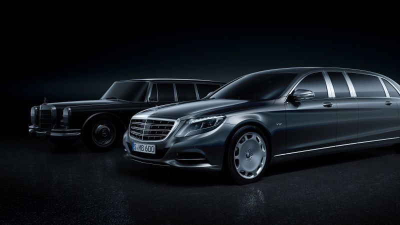 Mercedes Maybach S600 Pullman, sedan, grey, supercar, luxury cars, sports car (horizontal)