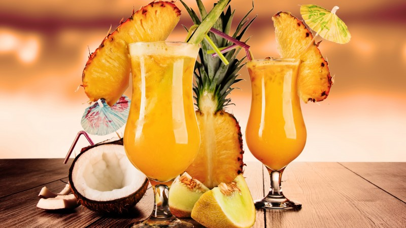 cocktails, juice, fruit, pineapple, coconut, melon, ice (horizontal)