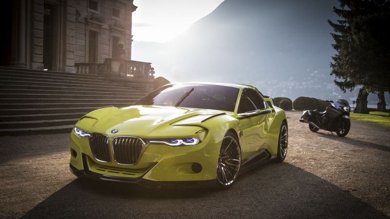 BMW 3.0 CSL, yellow, sports car, bmw, xDrive, sDrive (horizontal)