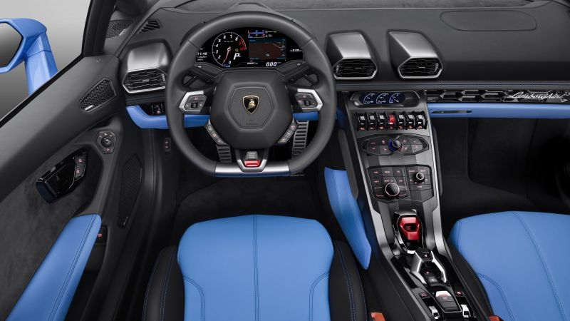 Lamborghini Huracan LP610-4 Spyder, interior, supercar, blue, luxury cars, sports car, test drive (horizontal)
