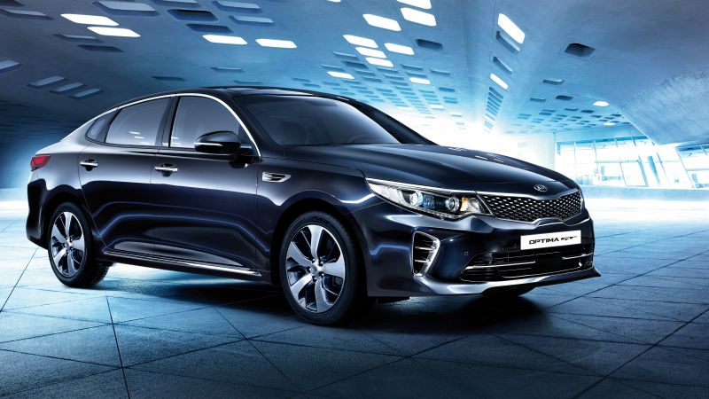 Kia Optima GT, supercar, black, luxury cars, sports car, test drive (horizontal)
