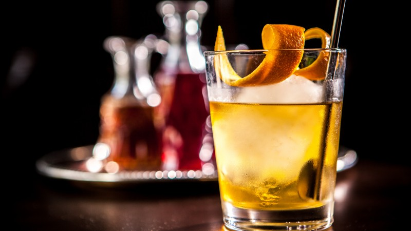 cocktails, whiskey, ice, orange,  (horizontal)