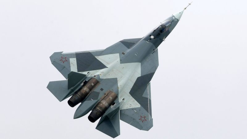 Sukhoi T-50, Russian army, red star, fighter aircraft, air force (horizontal)