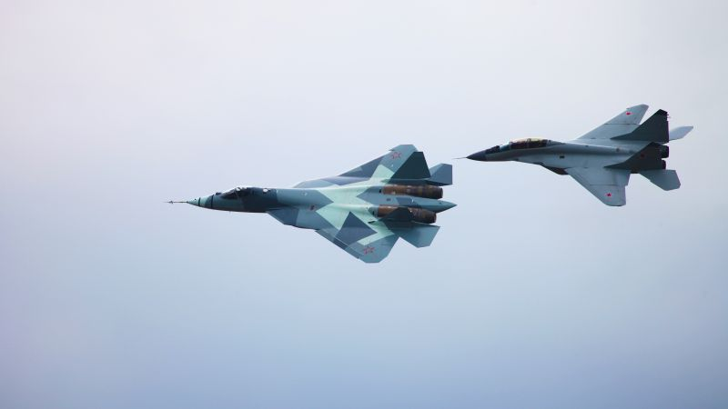 Sukhoi T-50, Mig-29m2, Russian army, red star, fighter aircraft, air force (horizontal)