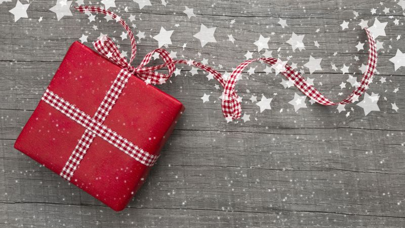Christmas, New Year, gifts, stars, decorations (horizontal)