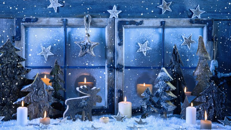 Christmas, New year, decorations, candle, snow, fir-tree, star (horizontal)