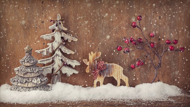 Christmas, New Year, deer, fir-tree, Elk, decorations, snow (horizontal)