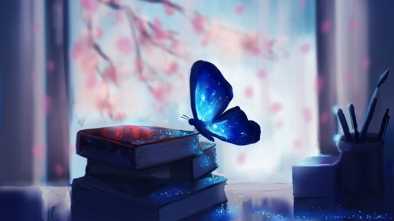 Butterfly, books, magic, art (horizontal)