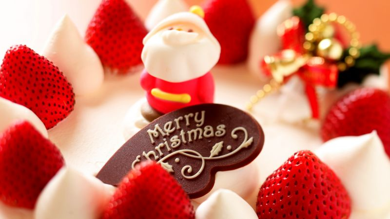 Cake, Christmas, strawberry, Santa Claus, bells (horizontal)
