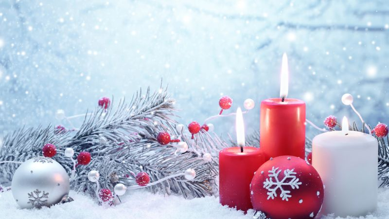 Christmas, New year, candle, balls, fir-tree, snowflakes, snow, decorations (horizontal)