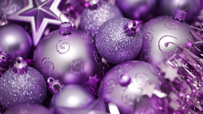 Christmas, New year, balls, decorations, star, purple (horizontal)