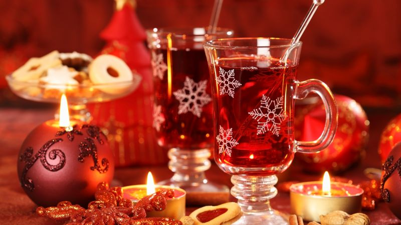 Mulled wine, candle, biscuits, cinnamon, decorations, peanuts, Christmas (horizontal)