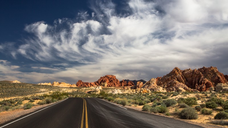 Las Vegas, 4k, HD wallpaper, 5k, the Valley of Fire State Park, road, clouds, mountain, valley, day, sky (horizontal)