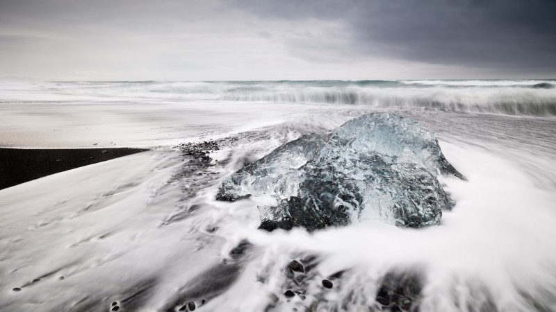 Iceland, 4k, HD wallpaper, Jokulsarlon beach, Ice block, ice lagoon, sea, ocean, white, winter (horizontal)