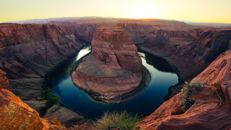 Horseshoe Bend, 4k, HD wallpaper, Paige, Arizona, lake, golden canyon, clear sky (horizontal)