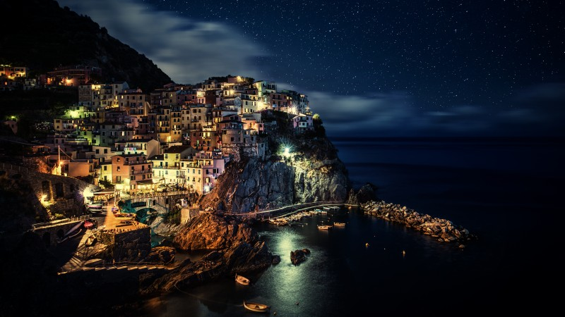 Manarola, Italy, Riomaggiore, province of La Spezia, Liguria, night, blue, water, sea, ocean, boats, sky, twilight, harbor, travel, vacation, booking (horizontal)
