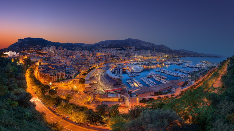 Monaco, Principality, city, twilight, night, sky, light, boats, travel, vacation, booking, sea, ocean, races, harbor (horizontal)