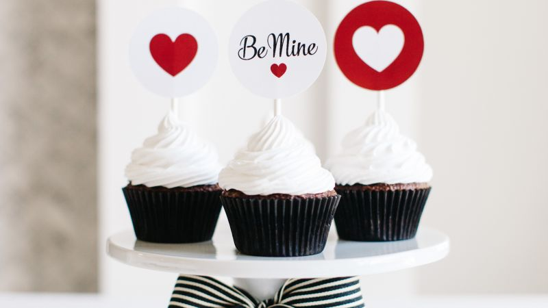 Valentine's Day, cupcake, cake, heart, love (horizontal)