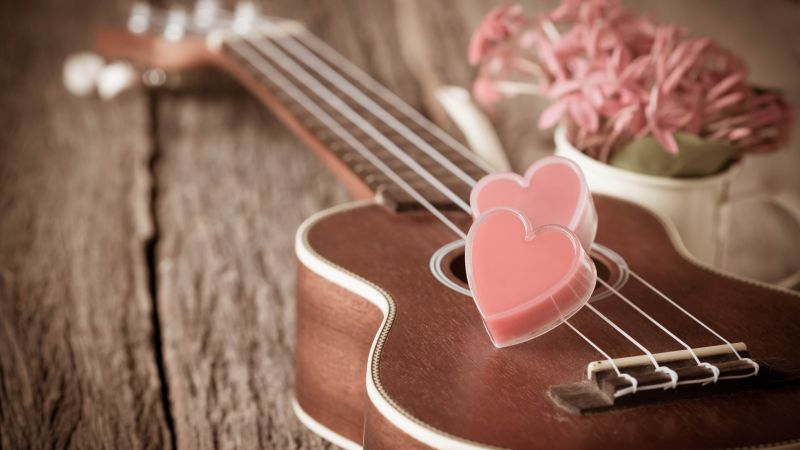 Valentine's Day, heart, guitar, romantic, flowers, love (horizontal)