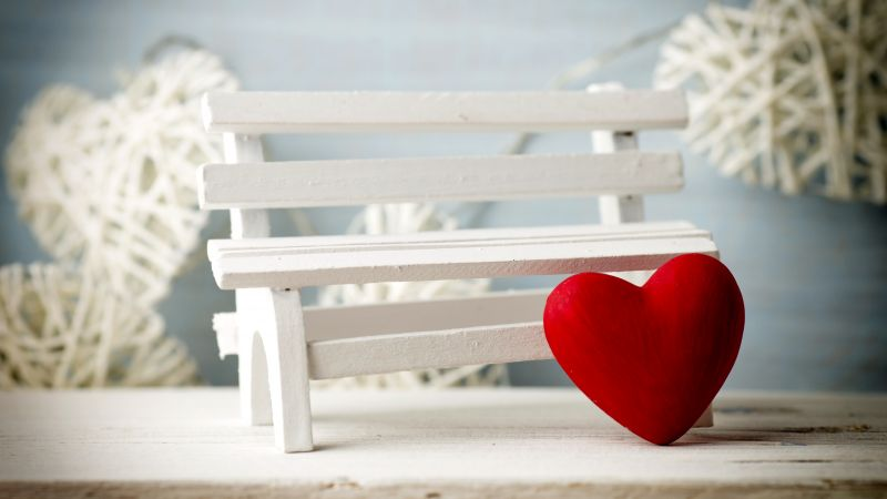Valentine's Day, heart, decorations, romantic, love, bench (horizontal)