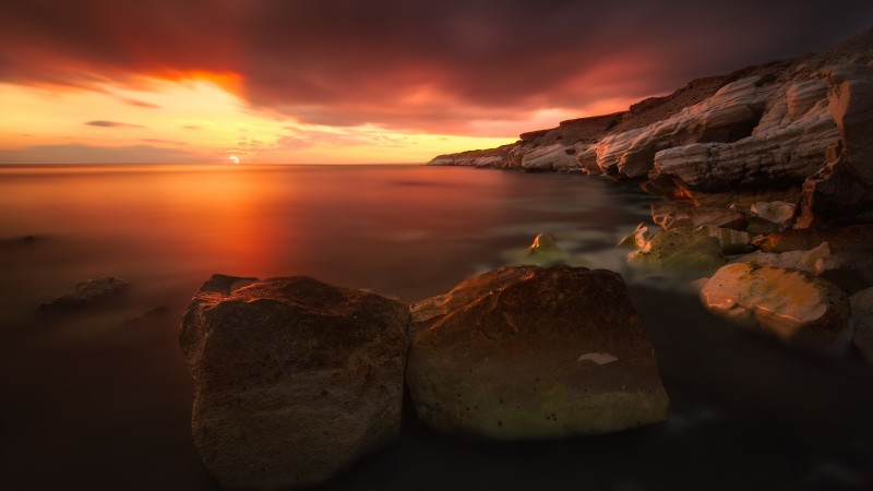 Sunset, 4k, HD wallpaper, rocks, sea, ocean, water, red, clouds, sky, sun (horizontal)