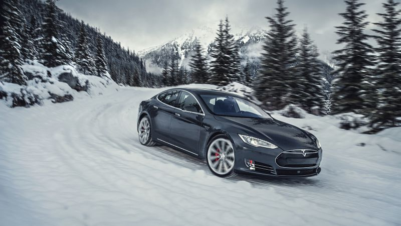 Tesla model S P85D, Quickest Electric Cars, sport cars, electric cars, suv, black (horizontal)