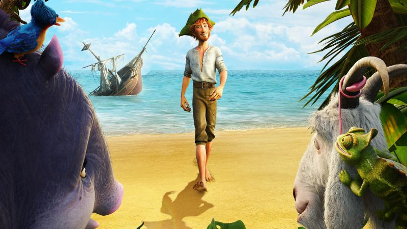 Robinson Crusoe, parrot, goat, Hedgehog, Best Animation Movies, cartoon (horizontal)