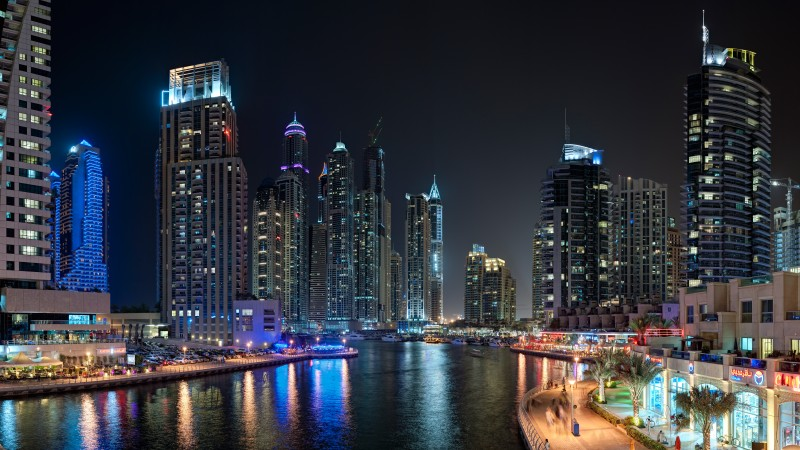 Dubai, Marina Yacth club, sea, lake, water, night, light, travel, booking, vacation, landscape (horizontal)