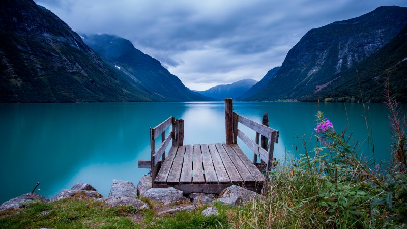 Norway, 5k, 4k wallpaper, bridge, sea, lake, water, blue, sky, clouds, mountain (horizontal)