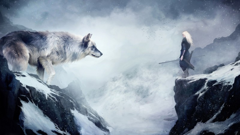 wolf, 4k, HD wallpaper, mountain, girl, animals, winter, drawing, snow, fantasy, art (horizontal)