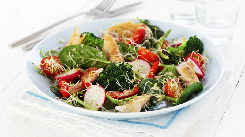 broccoli, spinach, cherry tomatoes, spinach, radishes, turkey, cooking, recipe (horizontal)