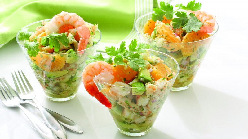 shrimp, mandarin, avocado, onions, greens, cooking, recipe (horizontal)