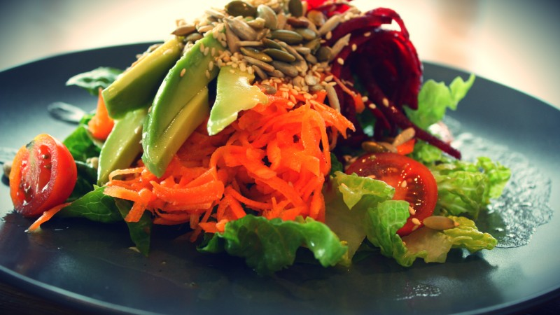 vegetarian, cooking, recipe, seeds, lettuce, avocado, carrot, beet, cherry tomatoes (horizontal)