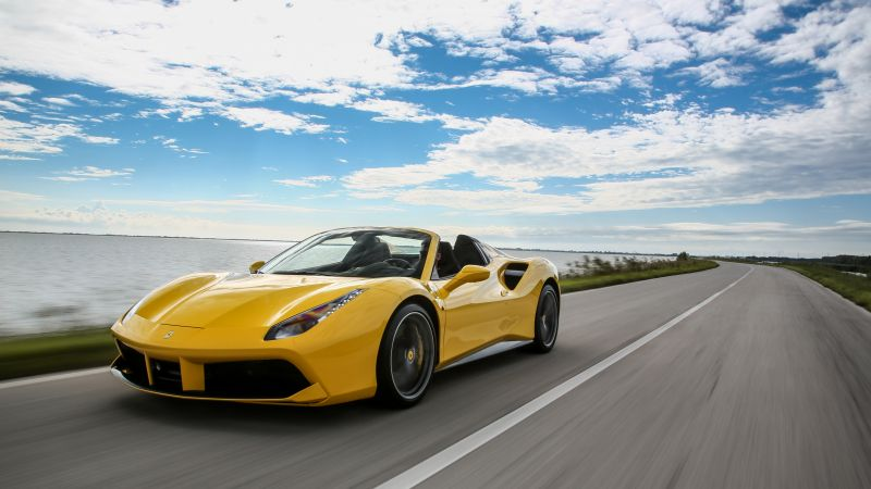 Ferrari 488 Spider, cabriolet, roadster, yellow (horizontal)
