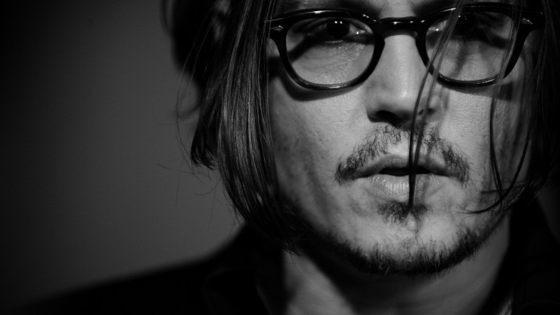 Johnny Depp, director, musician, screenwriter, producer, glasses, hair, beard,  (horizontal)