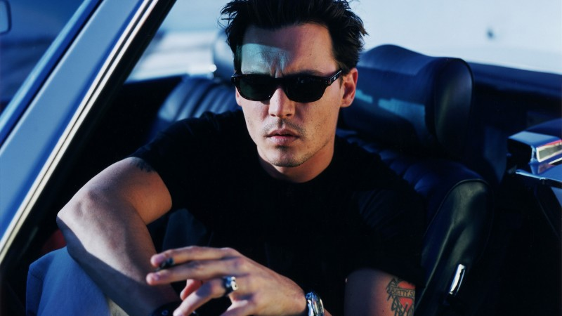 Johnny Depp, actor, director, musician, screenwriter, producer, car, glasses, cigarette, tattoo (horizontal)