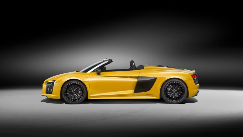 Audi R8, NYIAS 2016, supercar, yellow (horizontal)