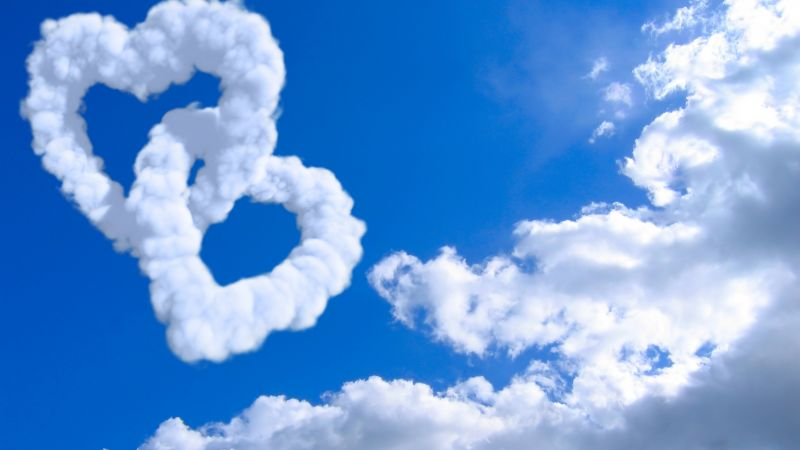 heart, 5k, 4k wallpaper, 8k, cloud, blue sky (horizontal)