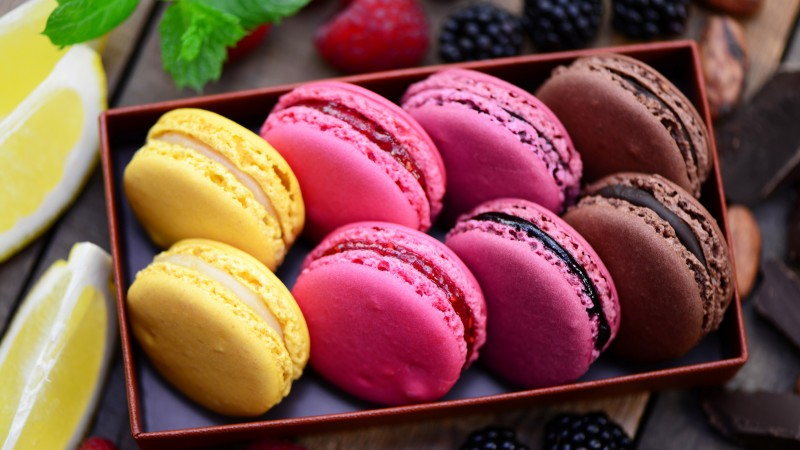 macaroon, recipe, cooking, chocolate, lemon, blackberry, raspberry,  (horizontal)