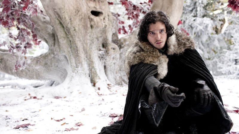 Kit Harington, Actor, John Snow, snow, tree, leaves, black cloak (horizontal)