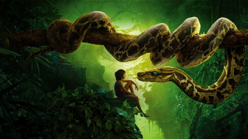 The Jungle Book, snake kaa, mowgli, Best movies of 2016 (horizontal)