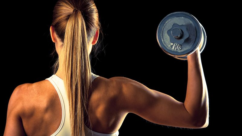 Girl, fitness, exercise, gym, dumbbells, workout, sportswear, motivation